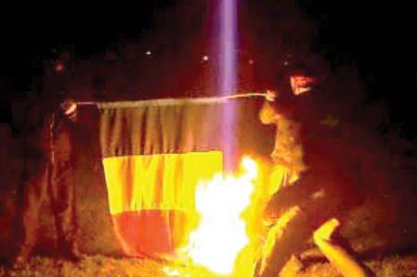 Drapelul României aprins